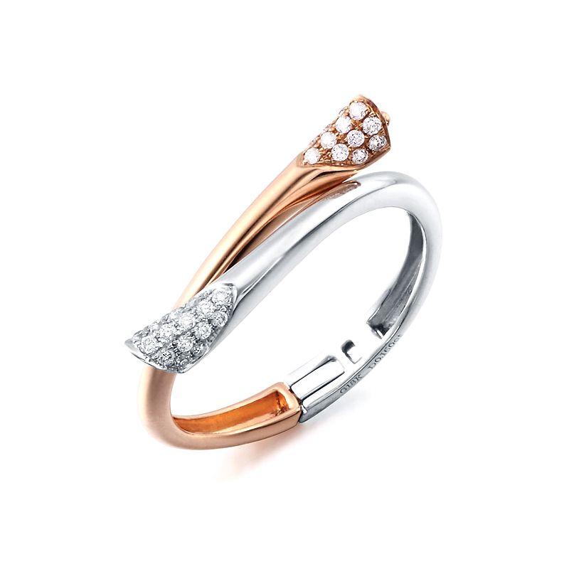 Bague moderne deux ors rose et blanc - Cœur pendentif diamanté