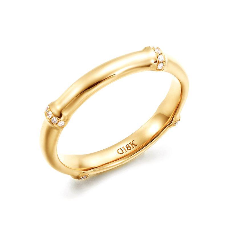Bague bambou or jaune 18cts - Anneau de luxe et diamants