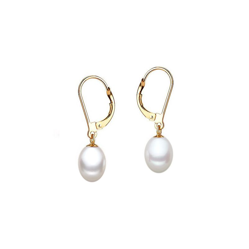 Boucles oreilles dormeuses or jaune - Perles culture blanches - 8/9mm