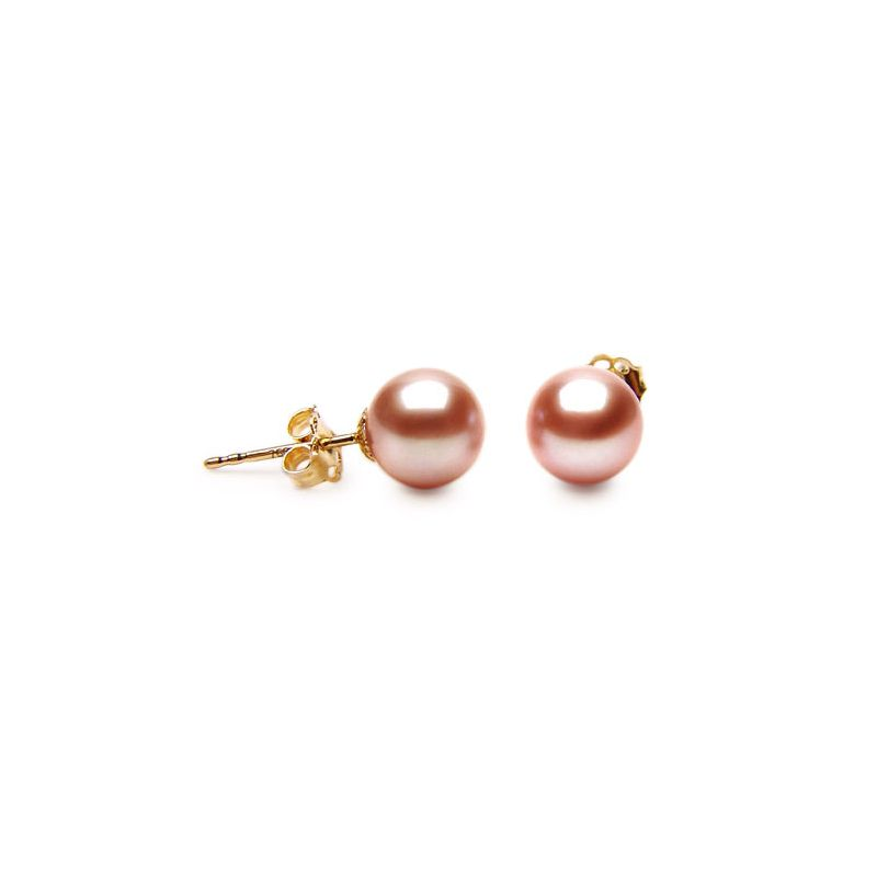 Clous oreille or jaune - Boucles perles d'eau douce roses - 8/9mm