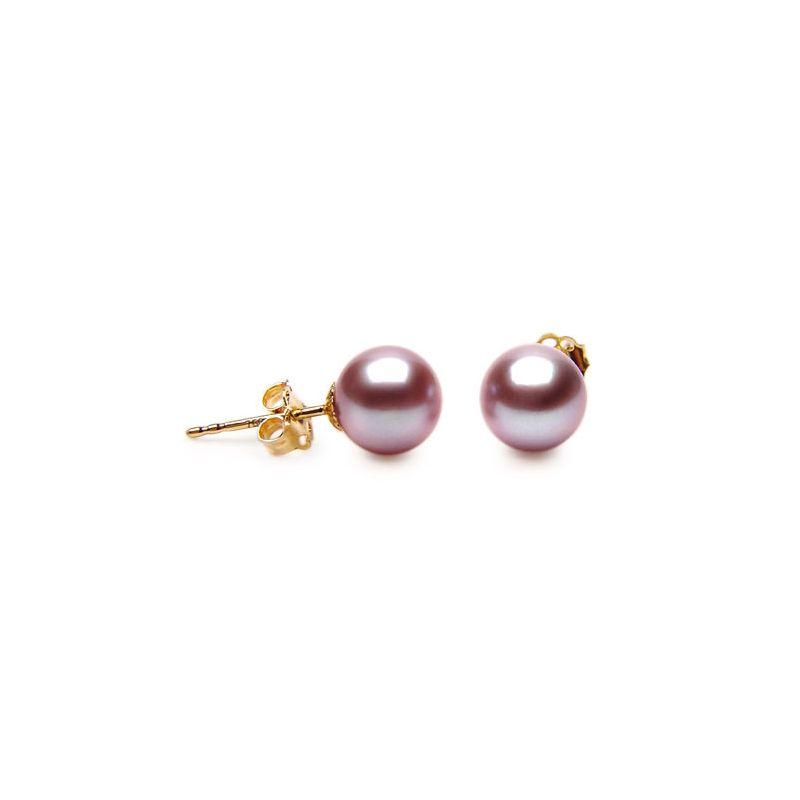 Boucle d'oreille perle clou - Perles de Chine lavande 8/9mm - Or jaune