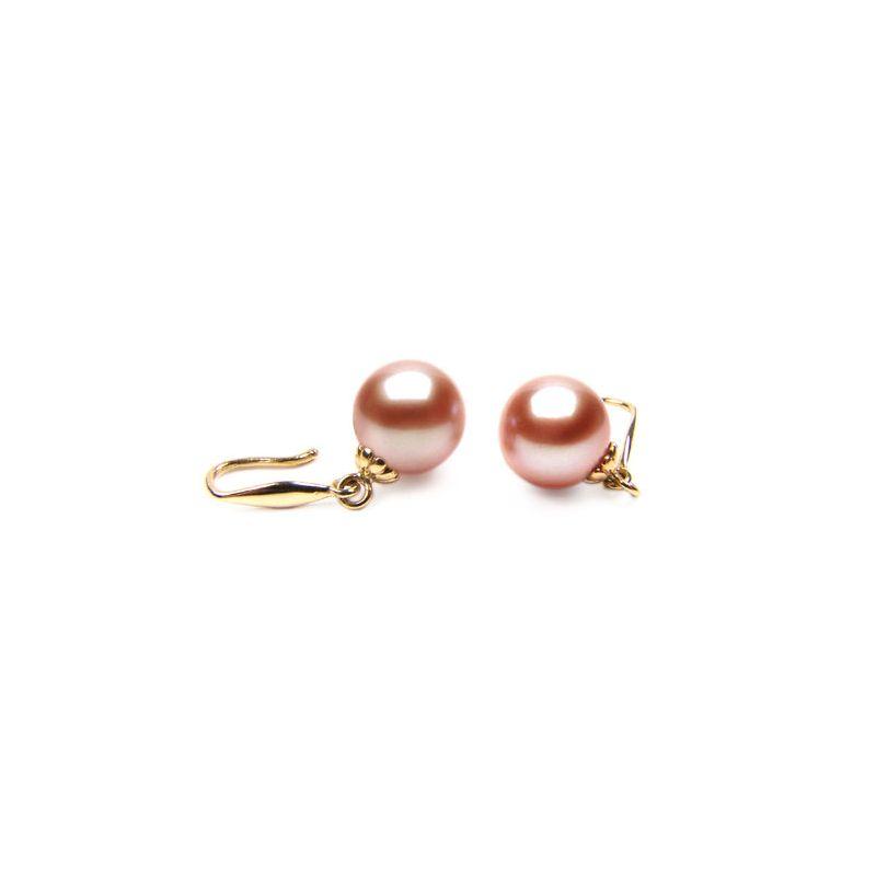 Boucle oreille or jaune - Crochets perles de culture roses - 8/9mm