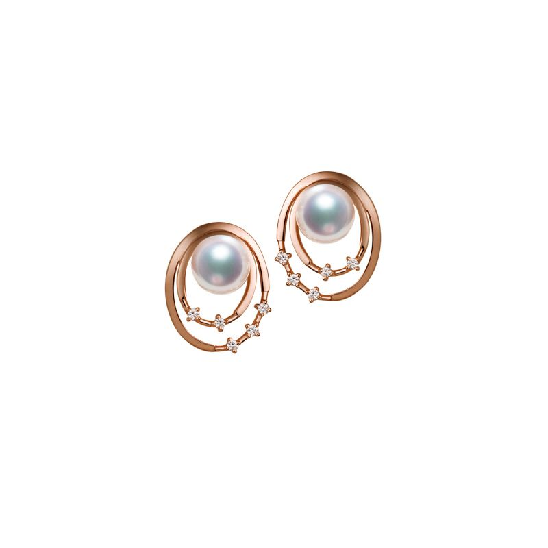Boucles oreilles perles Akoya, Or rose, diamants. Motif double cercle