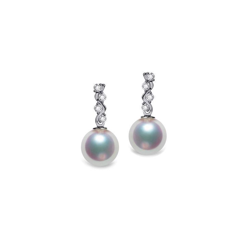 Pendants oreilles Miya. Perles Akoya Japon. Or blanc, diamants