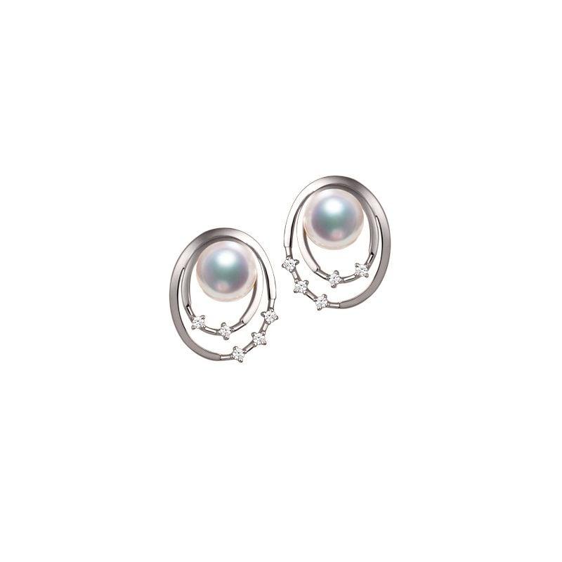 Boucles oreilles perles Akoya, Or blanc, diamants. Motif double cercle