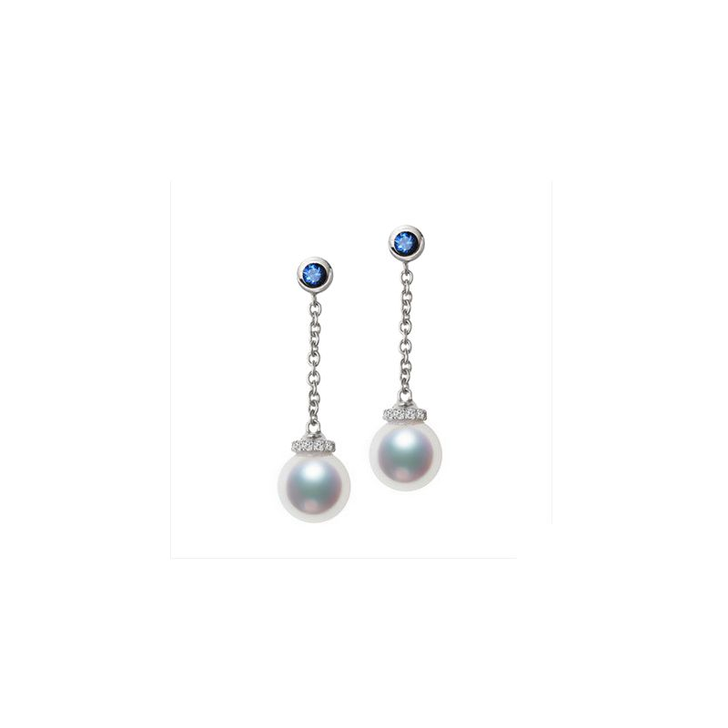 Boucles Pendantes Perles Akoya. Or blanc, saphirs et diamants