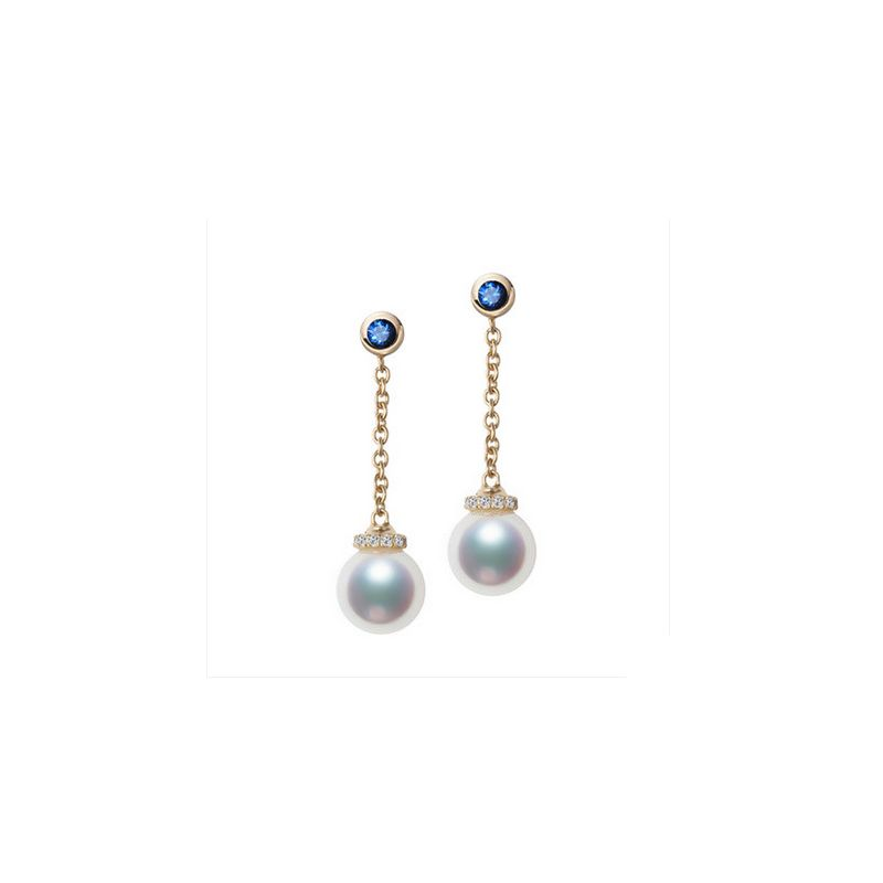 Boucles Pendantes Perles Akoya. Or jaune, saphirs et diamants