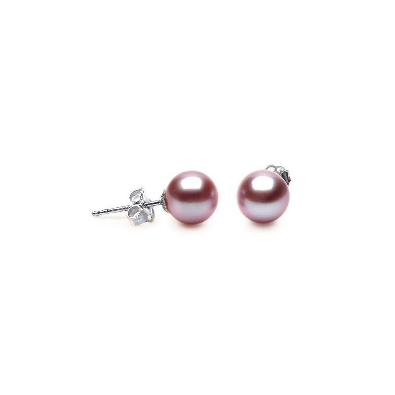 Boucles d'oreilles perles eau douce lavandes - 8/9mm - AAA - Or blanc