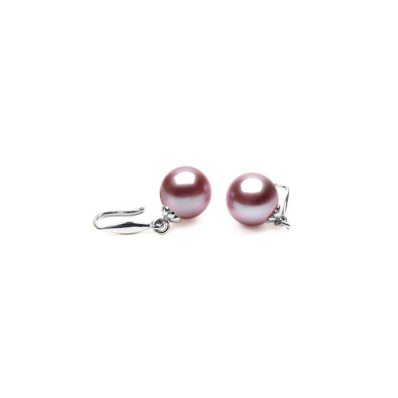 Boucles oreilles crochets or blanc - Perles lavandes eau douce Chine