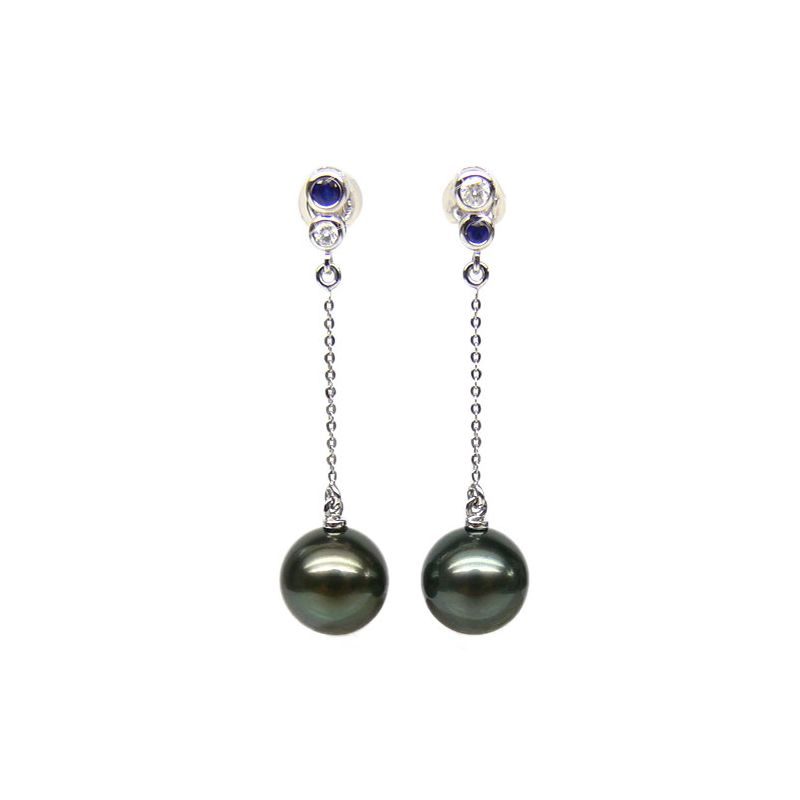Boucles d'oreilles en or - Perles de Tahiti - Or blanc, diamants, saphirs