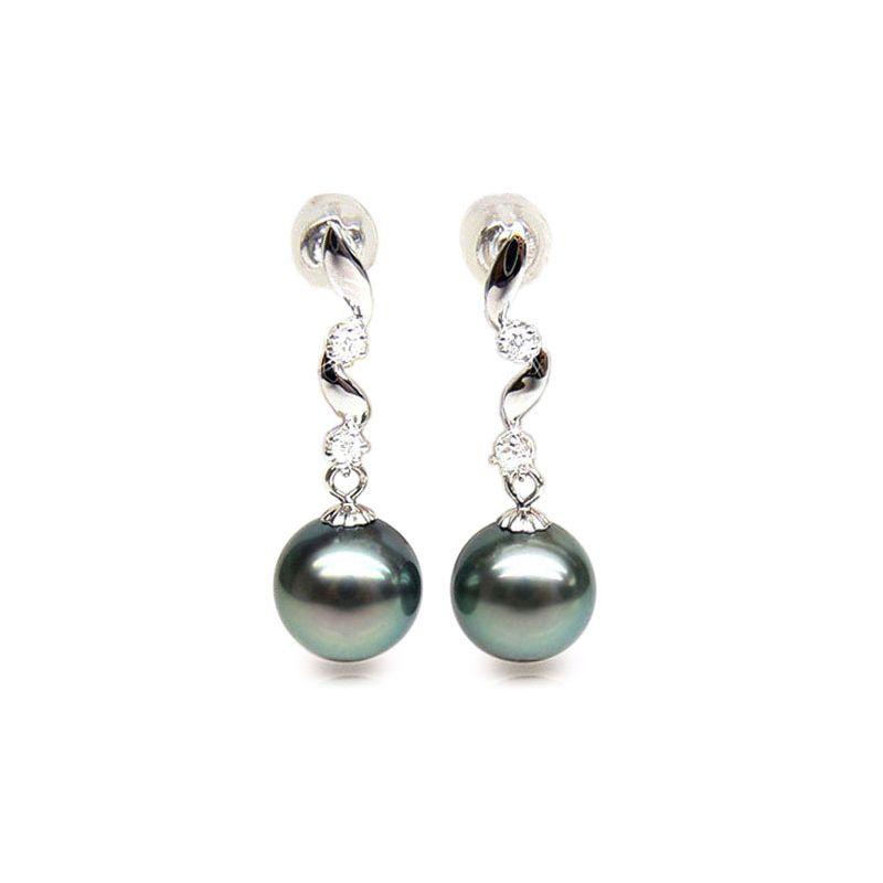 Pendants contemporains - Perles de Tahiti noires, bleues - Or blanc