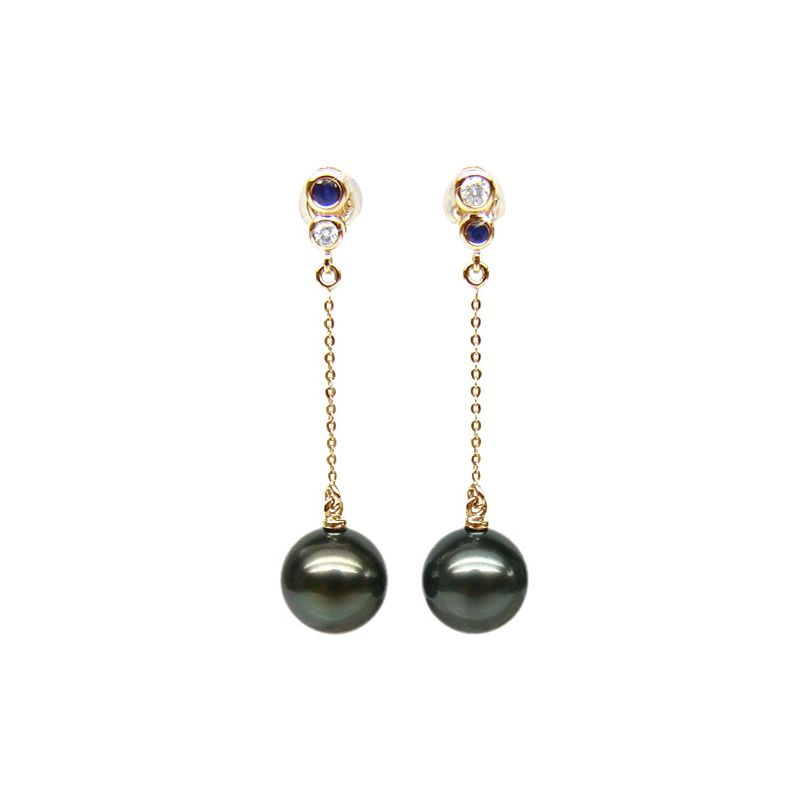 Boucles d'oreilles en or - Perles de Tahiti - Or jaune, diamants, saphirs