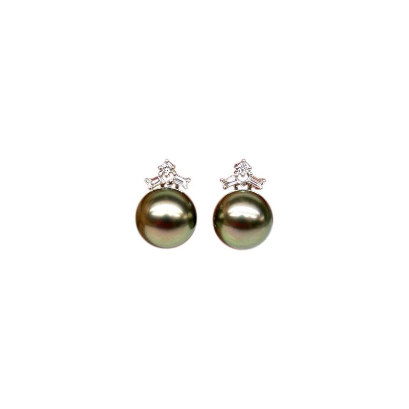 Boucles oreilles perles Tahiti - Or blanc - Diamants ronds, émeraudes