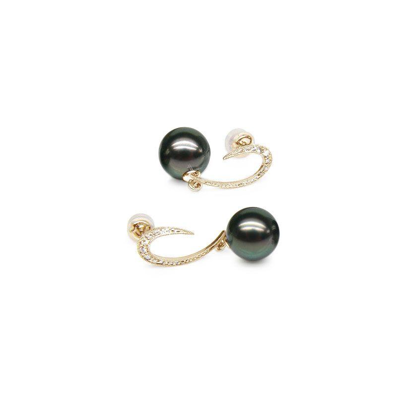 Boucles oreilles - Dormeuses contemporaines - Perles de Tahiti, Or jaune