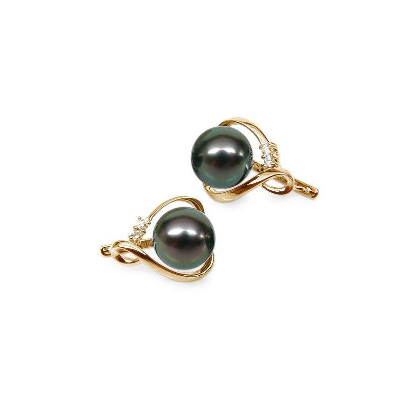 Boucles oreilles dormeuses clips - Perles de Tahiti - Or jaune, diamants