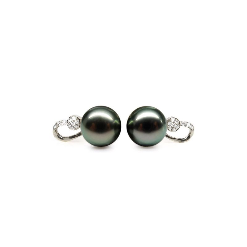 Boucles oreilles - Pendants perles Tahiti noires - Or blanc, diamants