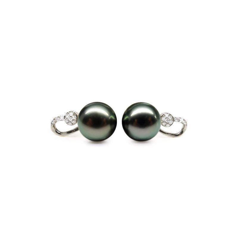 Boucles oreilles - Pendants perles Tahiti noires - Or blanc, diamants