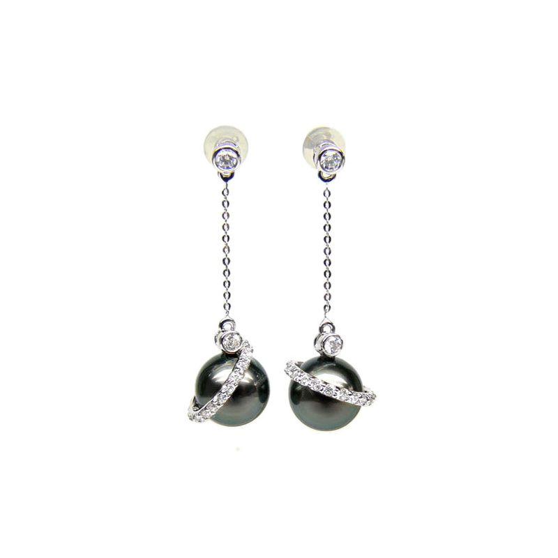 Boucles oreilles cercles diamantés - Perles de Tahiti noires - Or blanc