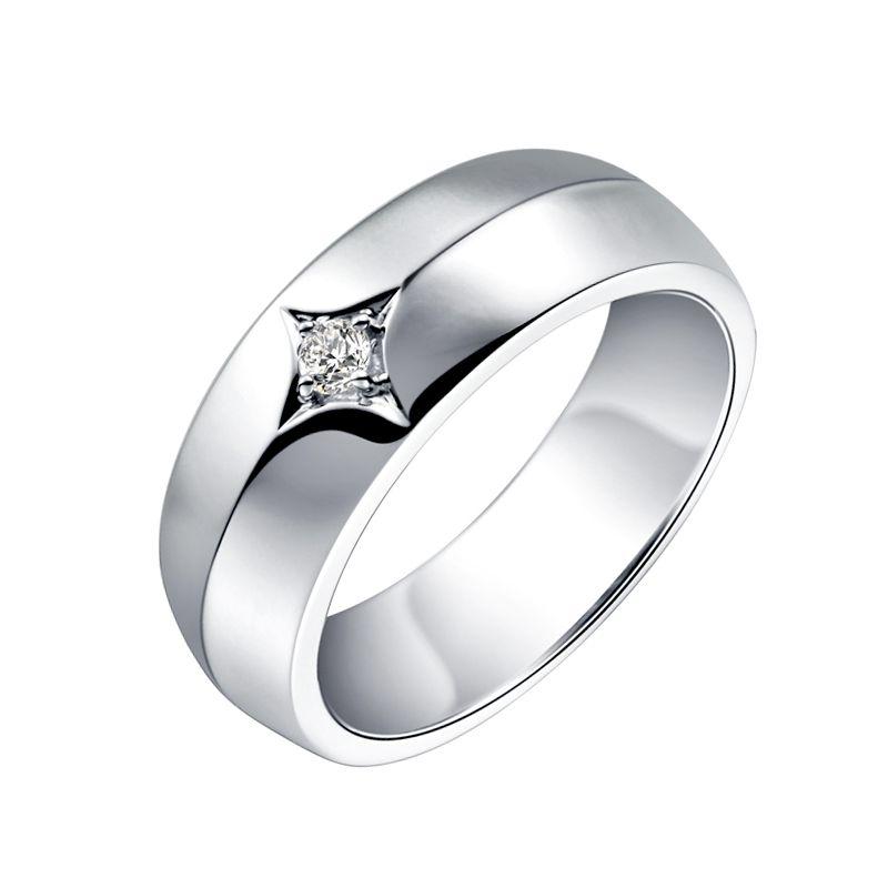 Chevalière - Bague chevalière homme en or blanc - 1 diamant central