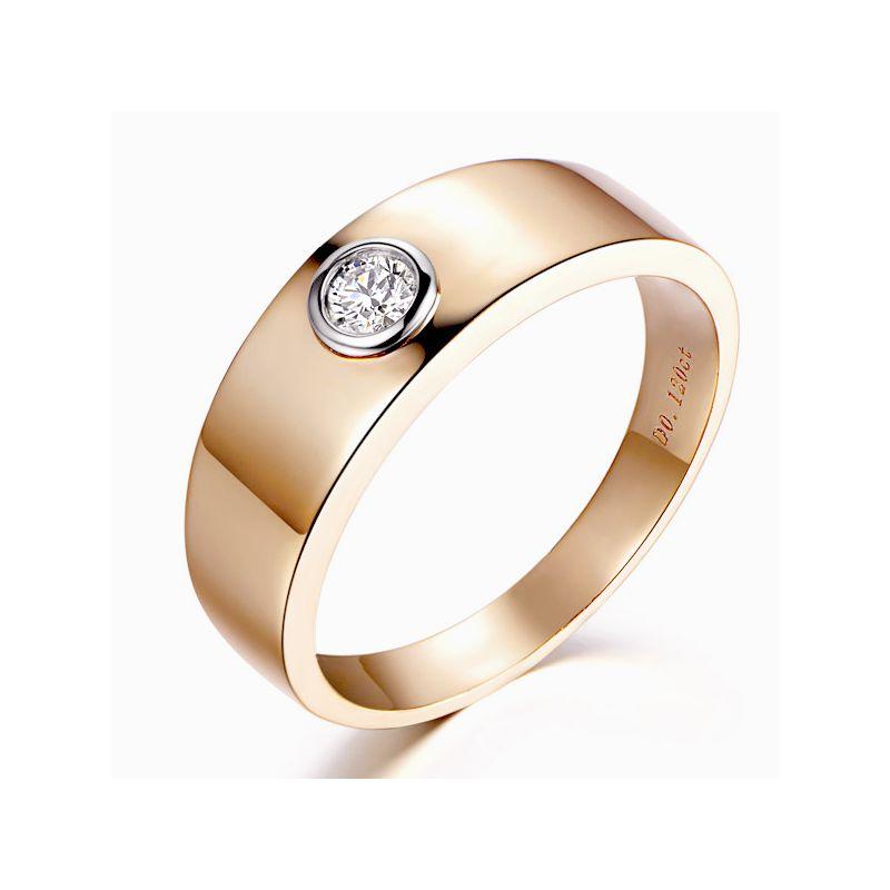 Chevalière homme or rose et blanc - Bague anneau en diamant