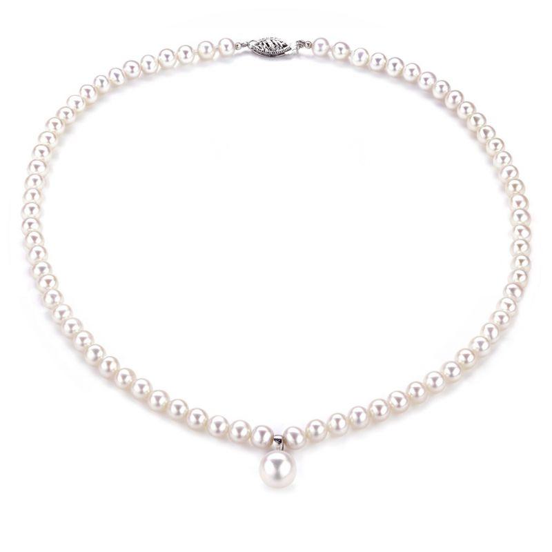 Collier de perles blanches - Perles de culture d'eau douce - 5/9mm