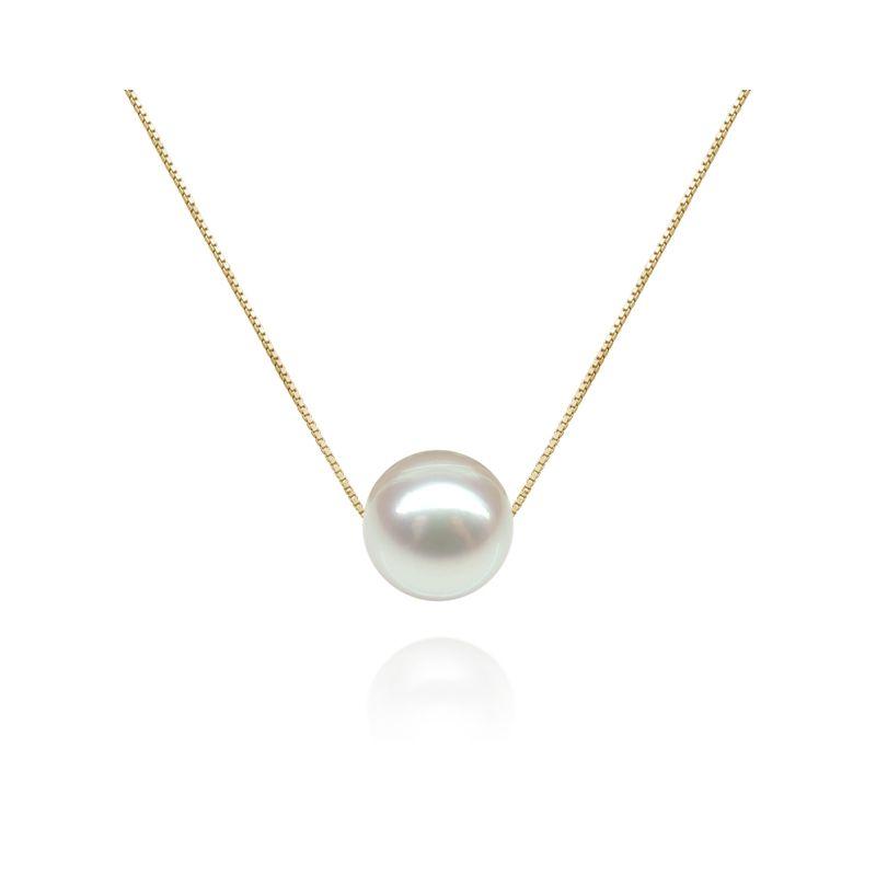 Collier pendentif perle blanche - Chaine or jaune