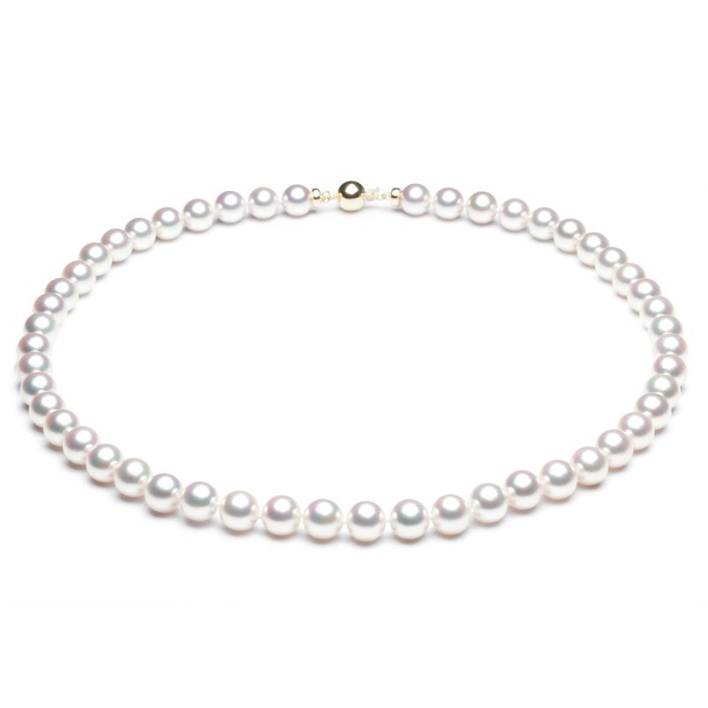 Collier perles Akoya blanches - Perle fine cultivée au Japon - 7/7.5mm