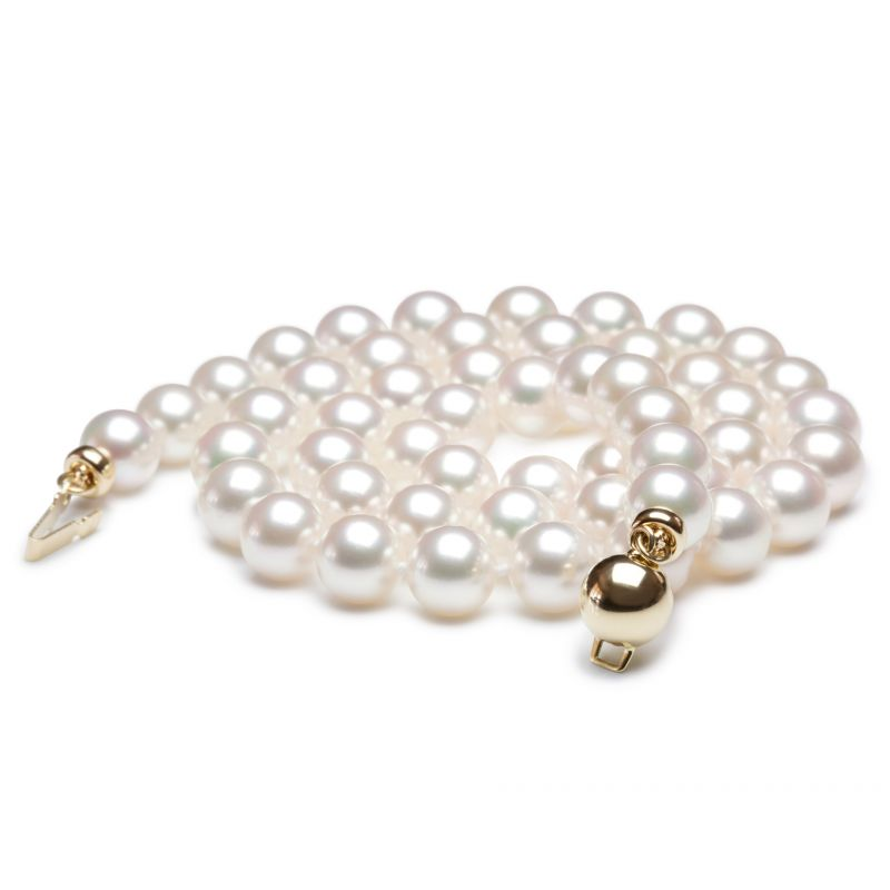 Collier perles de mer Akoya blanches du Japon - 6.5/7mm - Top GEMME