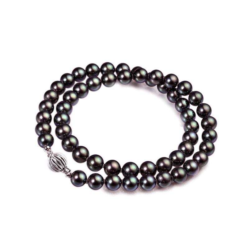 Collier perles Akoya noires - Perle japonaise noire - 6.5/7mm