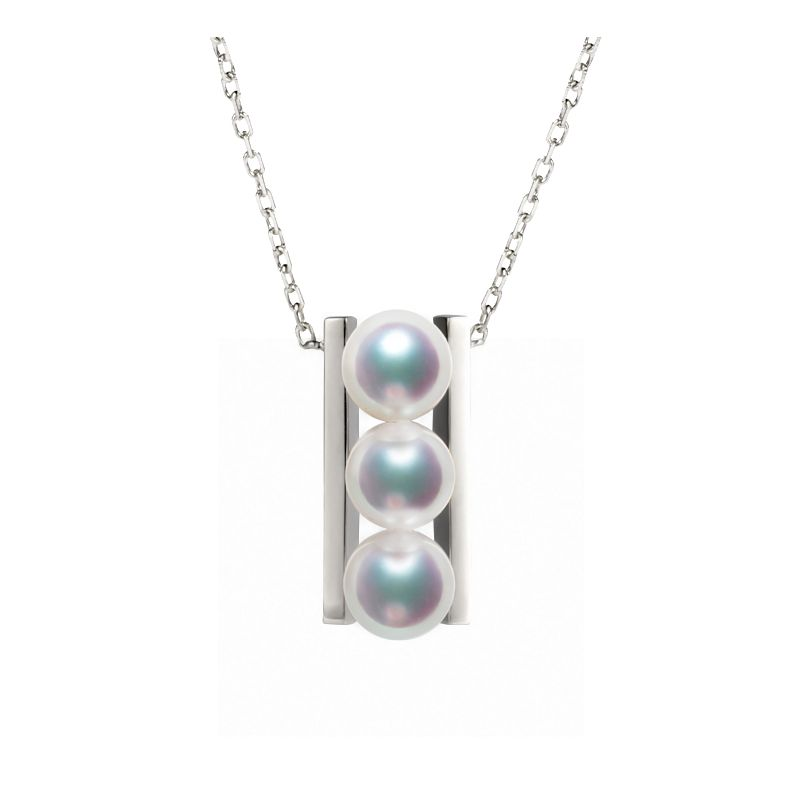 Pendentif 3 perles Akoya et or blanc. Disposition rail. Takana