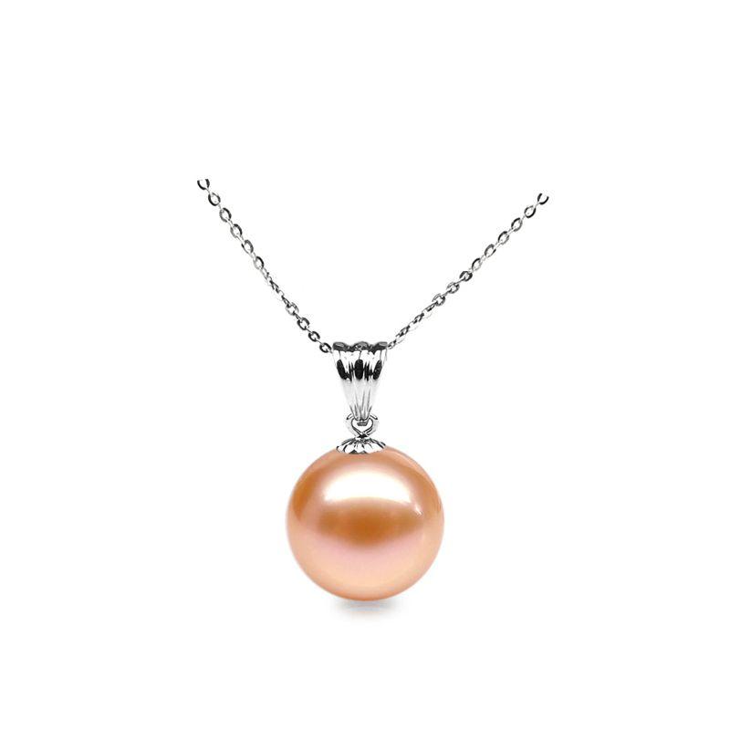 Collier une perle rose - Pendentif or blanc