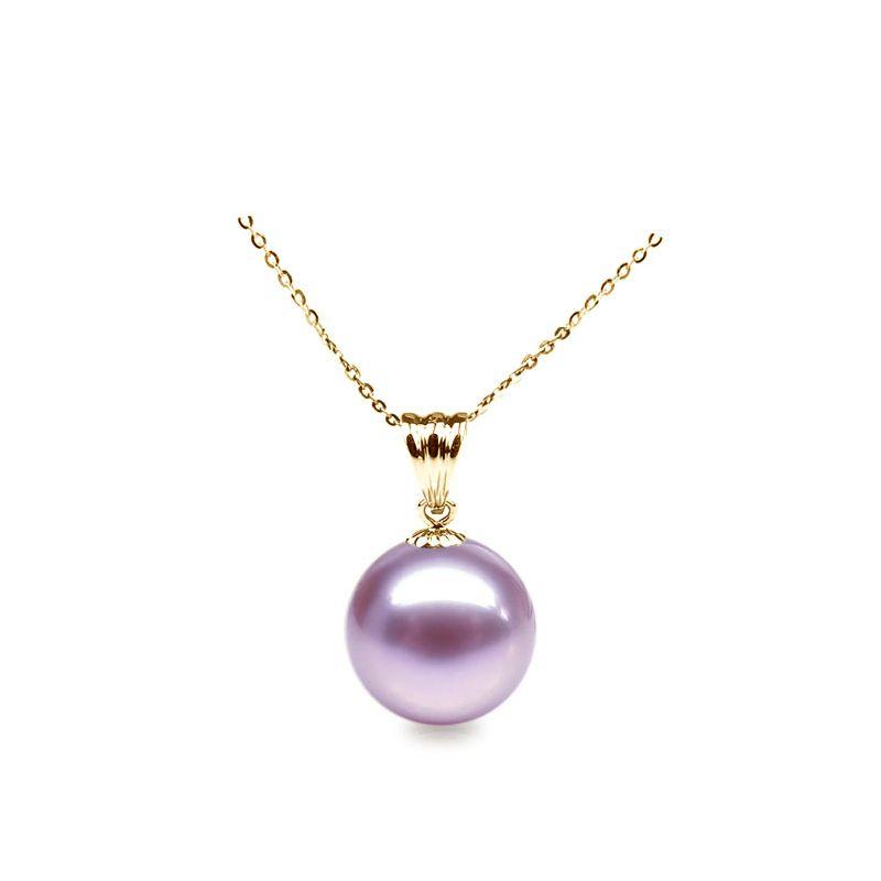Collier une perle lavande - Pendentif or jaune