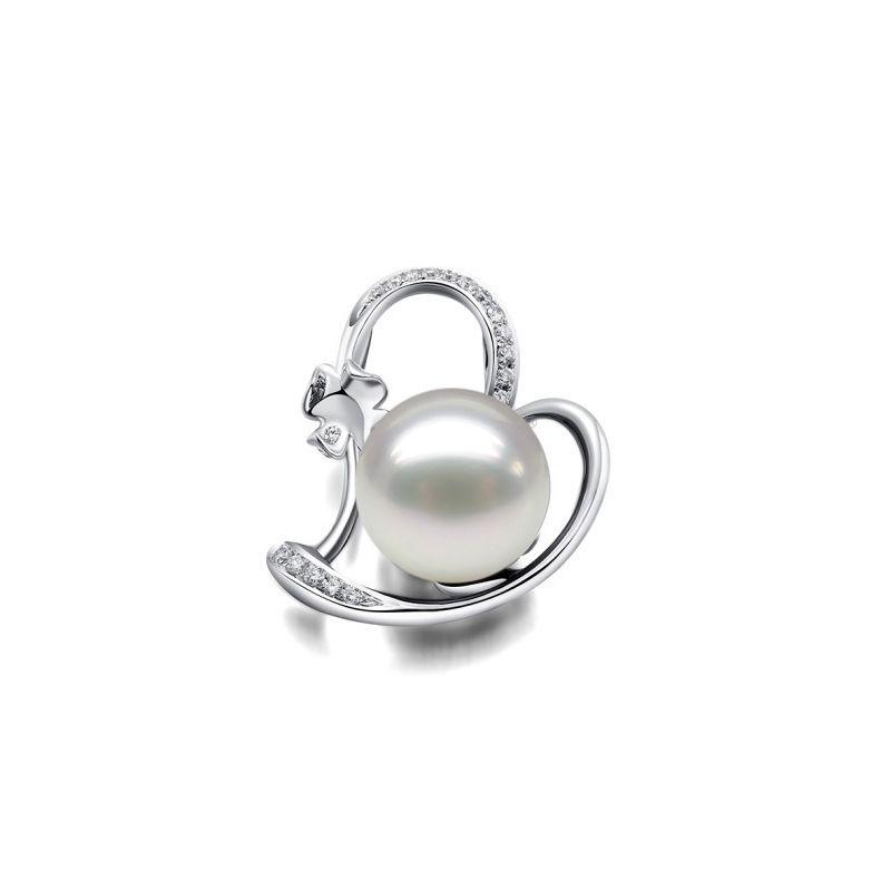 Pendentif perle d'Australie or blanc et diamant - Coeur de trèfle