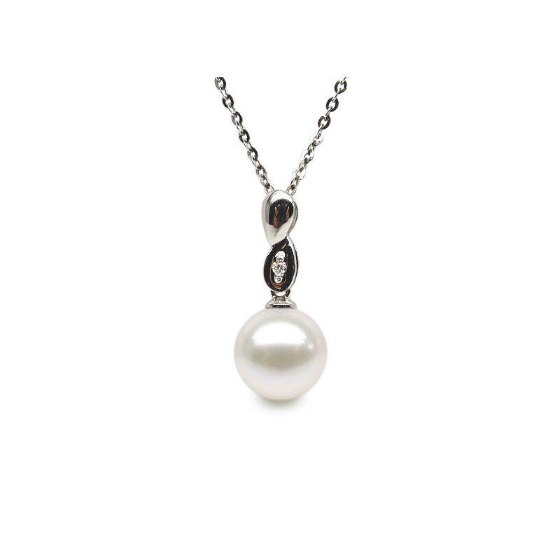 Pendentif bélière or blanc entortilée - Perle chinoise et diamant