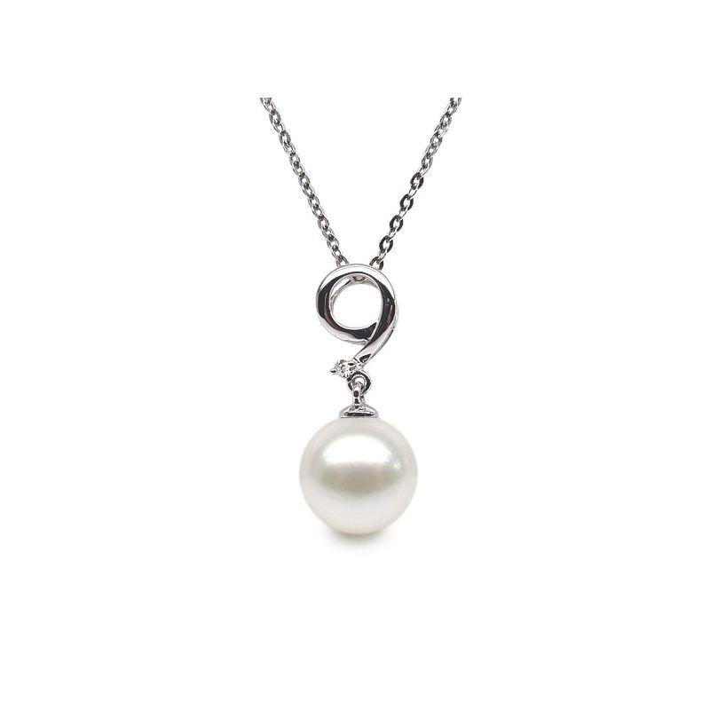 Pendentif chiffre 9 - Perle d'eau douce blanche - Or blanc, diamant