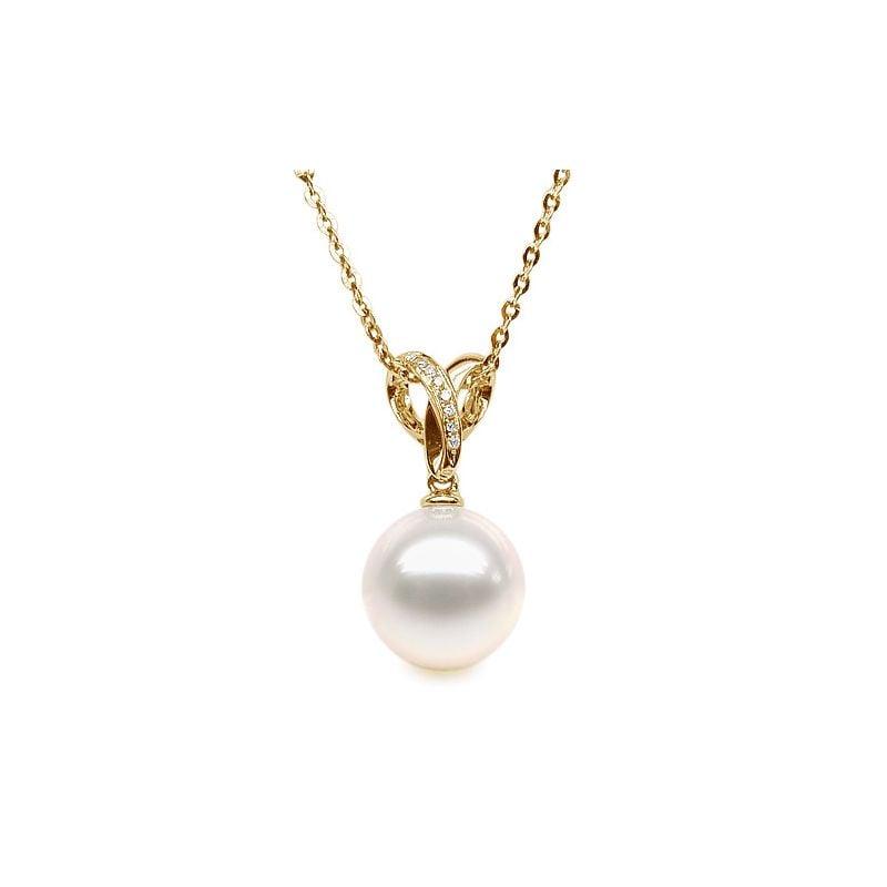 Pendentif bélière entrelacée or jaune - Perle de Chine blanche
