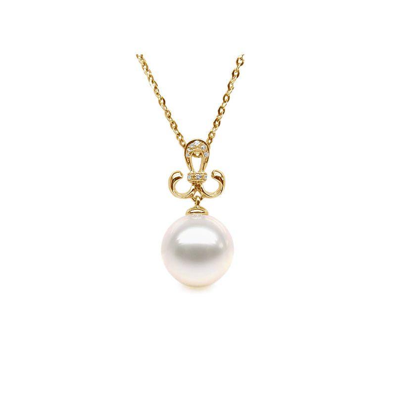 Pendentif armoiries noblesse - Or jaune, diamants - Perle blanche