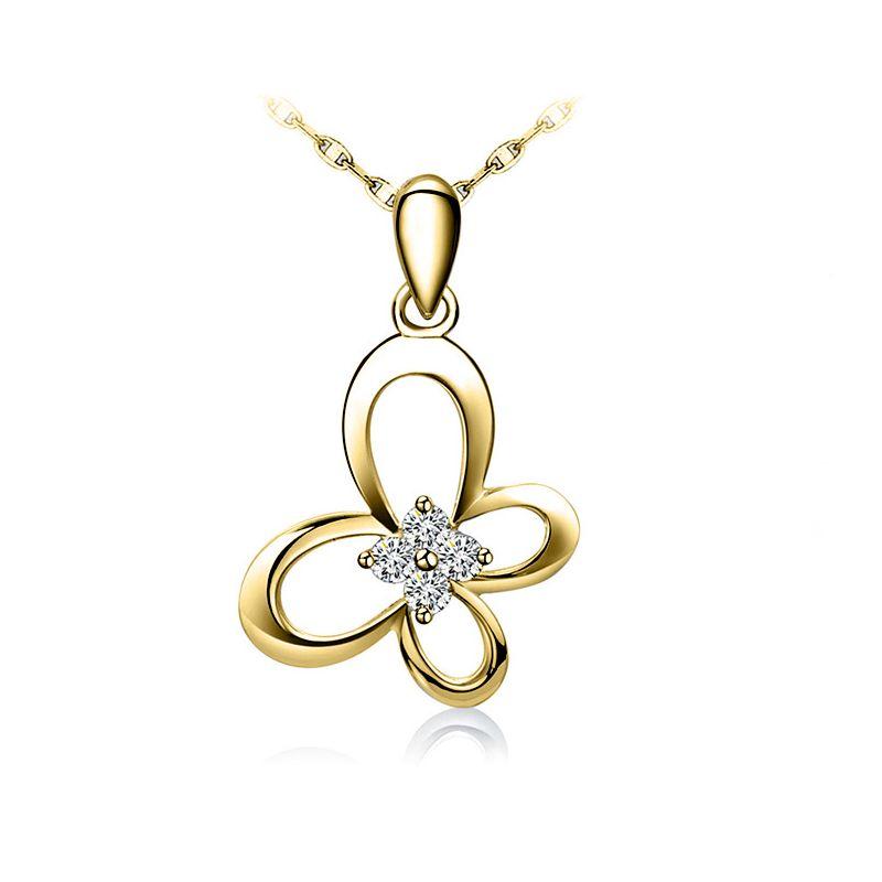 Pendentif fleur papillonnante - Or jaune 18 carats - Diamants 0.08ct
