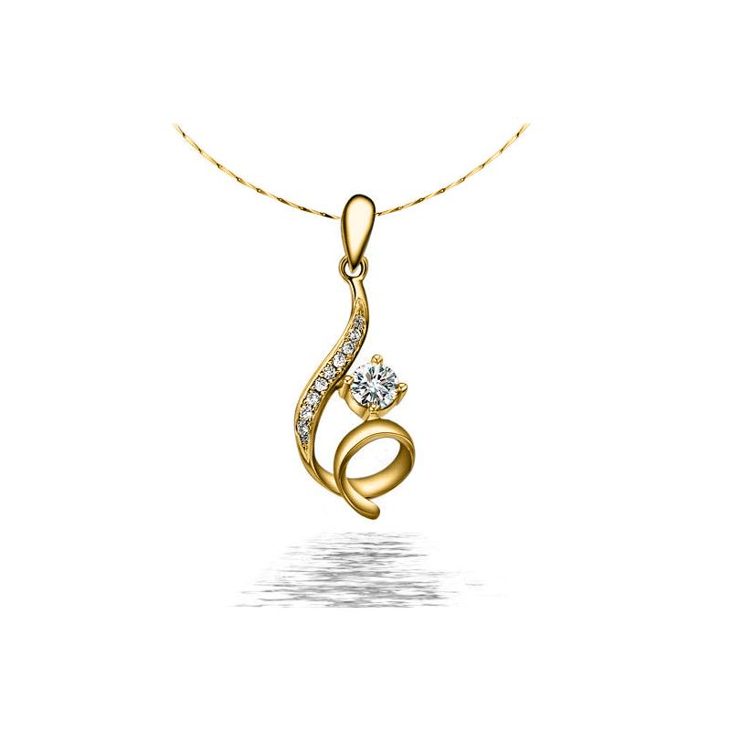 Pendentif byzantin entortillé - Or jaune, diamants 0.22ct