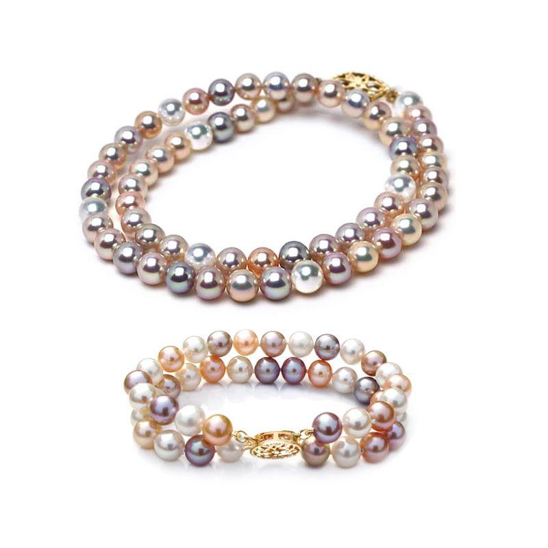 Collier et Bracelet double rang perles de Chine multicolores, 6.5/7mm