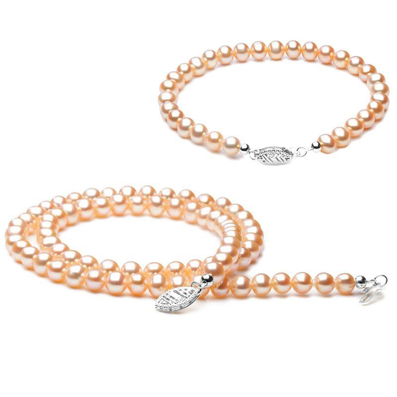 Parure bijoux roses - Perle de culture eau douce rose - Or blanc