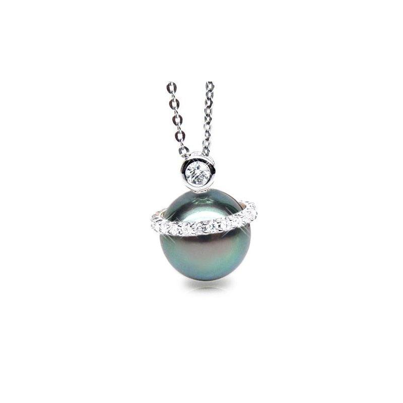 Pendentif de style - Cerclage mobile - Perle Tahiti, or blanc, diamants