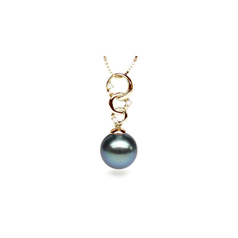 Pendentif Moorea - 3 anneaux - Perle de Tahiti - Or jaune, diamants