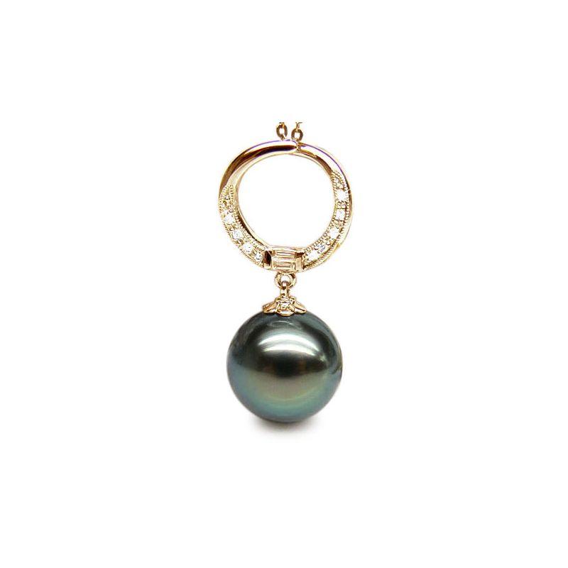 Pendentif circle - Perle Tahiti noire, bleue verte - Or jaune, diamants