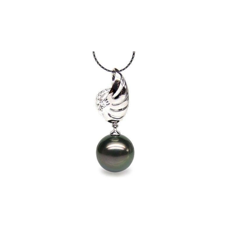 Pendentif aile - Symbole liberté - Perle de Tahiti - Or blanc, diamants
