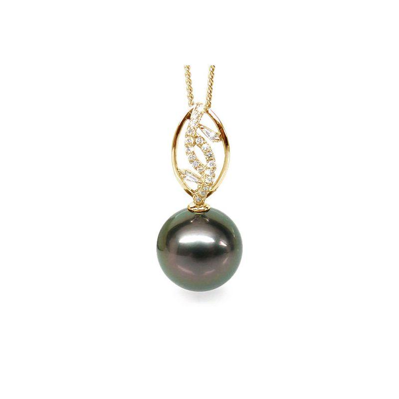 Pendentif deux feuilles - Perle de Tahiti - Or jaune, diamants