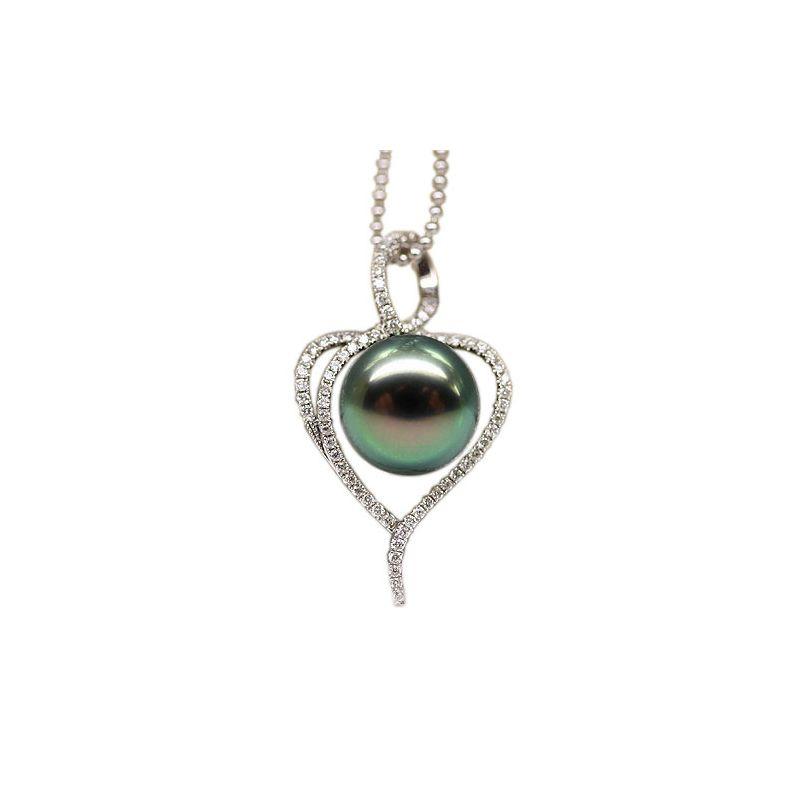 Pendentif coeur - Déclaration d'amour - Perle Tahiti - Or blanc, diamants