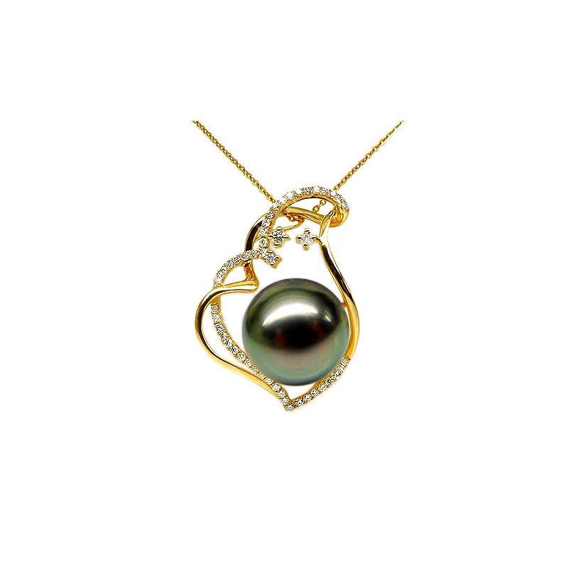Pendentif coeur nébuleux, romantique - Perle Tahiti - Or jaune, diamants