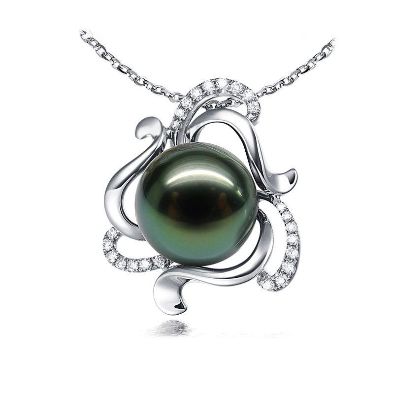 Pendentif perle de Tahiti verte 11/12mm - Or blanc et diamants