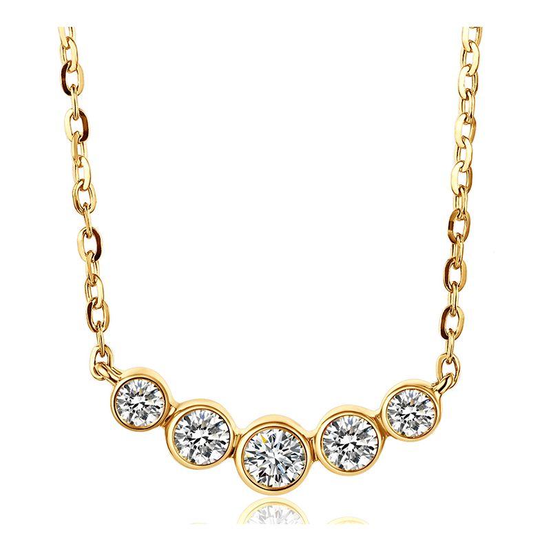 Collier pendentif Or jaune. 5 diamants sertis clos 0.26ct